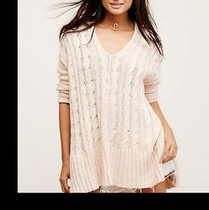 Free People Cable  V Neck Sweater